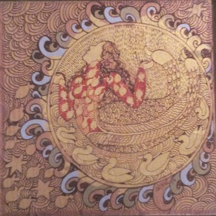 Golden Womb Series by Seema Kohli, Expressionism Painting, Acrylic & Ink on Canvas, Brown color