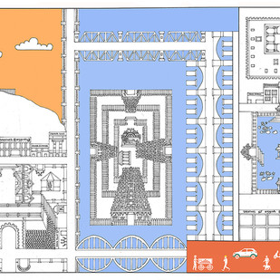 """The essence of Tiruchirapalli"" by Vignesh Premkumar, Geometrical Digital Art, Ink on Paper, Gray color"