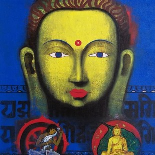 Peace by Yashpal, Traditional Painting, Acrylic on Canvas, Blue color