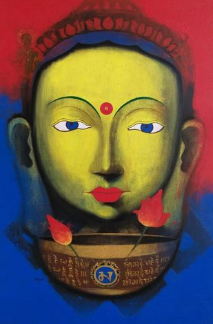 Meeting with Buddha by Yashpal, Expressionism Painting, Acrylic on Canvas, Blue color
