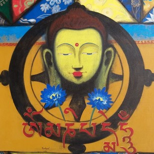 Buddha into my heart by Yashpal, Expressionism Painting, Acrylic on Canvas, Brown color