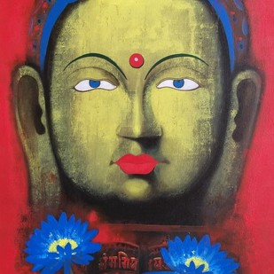 Lotus love by Yashpal, Expressionism Painting, Acrylic on Canvas, Brown color