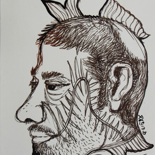 Finface by Shubharanjan Paul, Illustration Drawing, Pen & Ink on Paper, Gray color