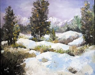 Himachal by Arpita, Impressionism Painting, Acrylic on Canvas, Gray color