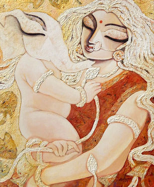 GANESH JANANI-II by Subrata Ghosh, Traditional Painting, Acrylic on Canvas, Beige color
