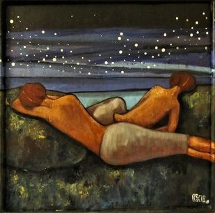 starry night by Suruchi Jamkar, Expressionism Painting, Acrylic & Ink on Canvas, Brown color