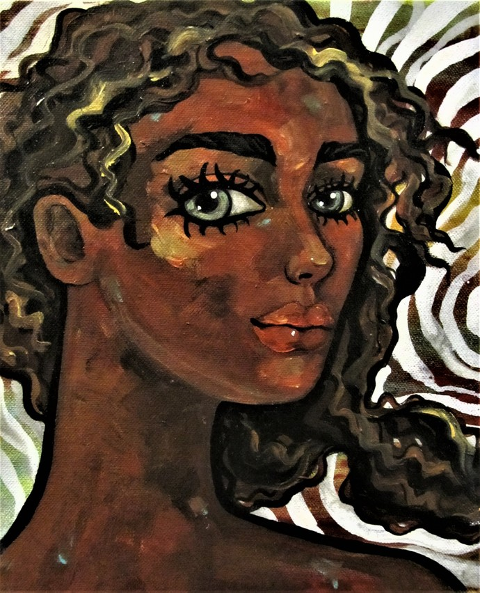 Portrait of a girl in wind I by Suruchi Jamkar, Pop Art Painting, Acrylic & Ink on Canvas, Brown color