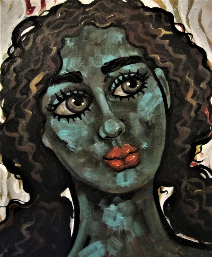 Portrait of a girl II by Suruchi Jamkar, Expressionism Painting, Mixed Media on Canvas, Gray color