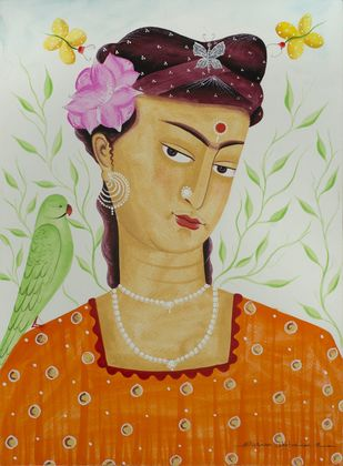Kali-Kahlo 2 by Bhaskar Chitrakar, Folk Painting, Natural colours on paper, Beige color