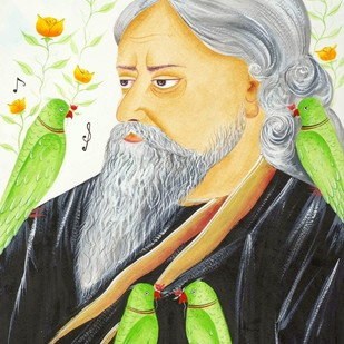 The Poet by Bhaskar Chitrakar, Folk Painting, Natural colours on paper, Gray color