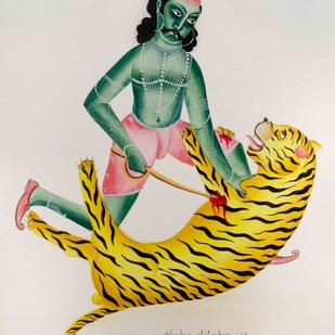 The Tiger-Slayer by Bhaskar Chitrakar, Folk Painting, Natural colours on paper, Beige color