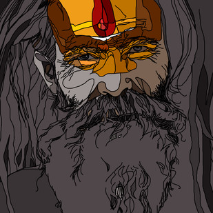 Sadhu by Uday Tadphale, Digital Digital Art, Digital Print on Paper, Gray color