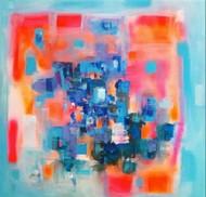 Abstract 9 by Lavanya Dutt, Abstract Painting, Acrylic on Canvas, Pink color