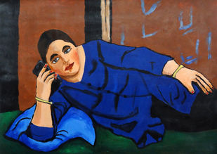 At Call by Kavya vyas , Expressionism Painting, Acrylic on Paper, Blue color