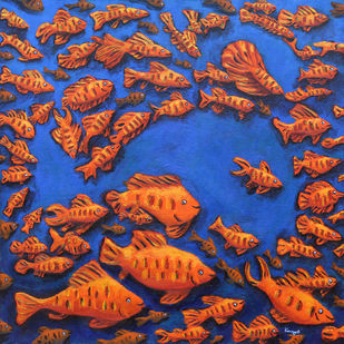 Fish within by Kavya vyas , Expressionism Painting, Acrylic on Canvas, Brown color