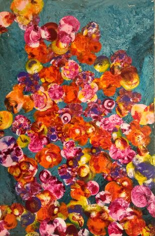 Ode to spring by Arpita Mitra, Abstract Painting, Acrylic on Canvas, Brown color