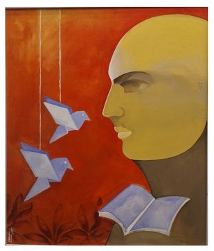 freedom by MOHAN KUMAR, Expressionism Painting, Acrylic on Canvas, Brown color