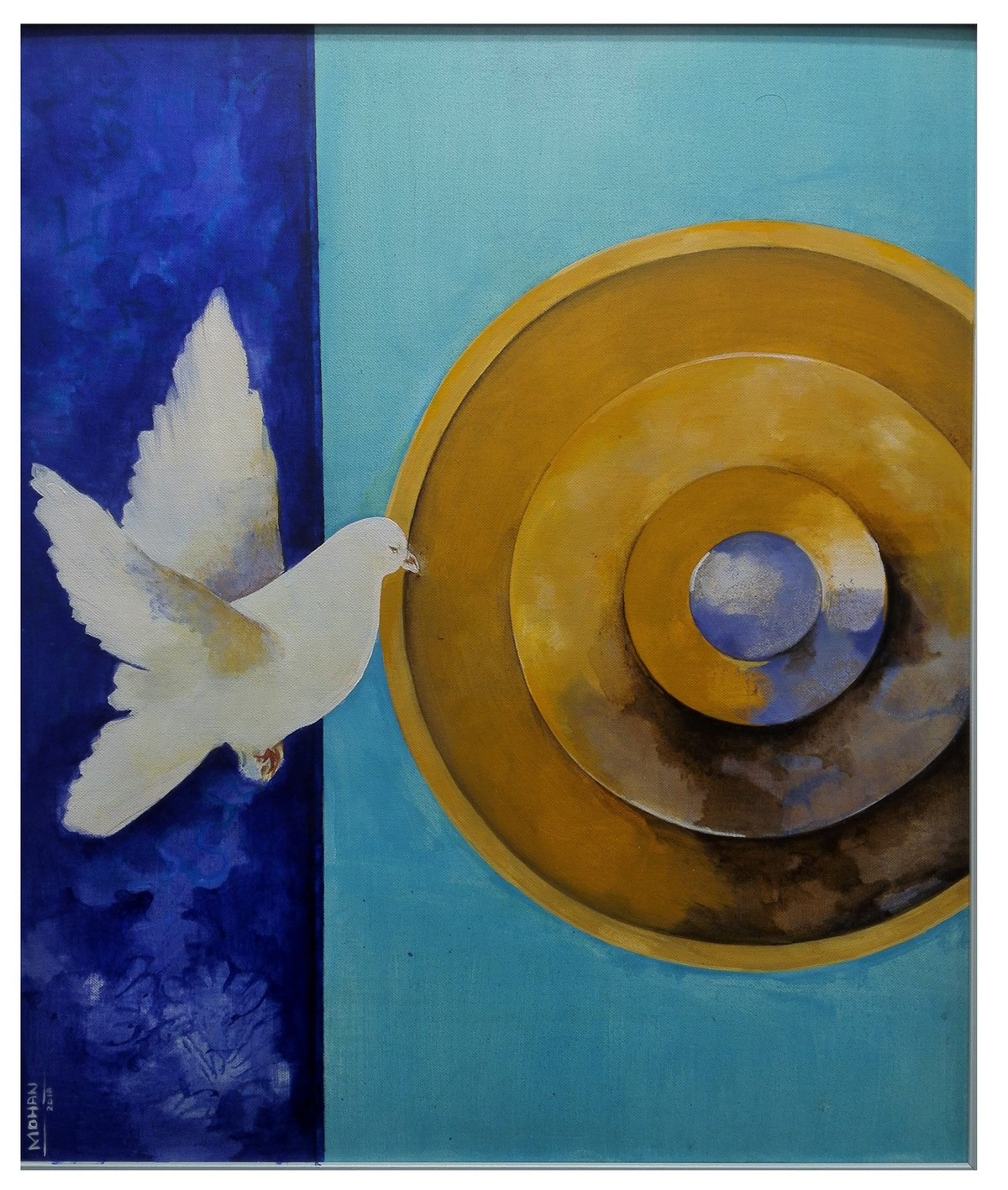 Peace by MOHAN KUMAR, Expressionism Painting, Acrylic on Canvas, Brown color