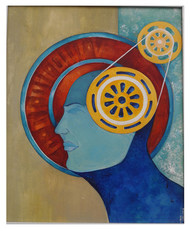 Driven by some power by MOHAN KUMAR, Expressionism Painting, Acrylic on Canvas, Brown color