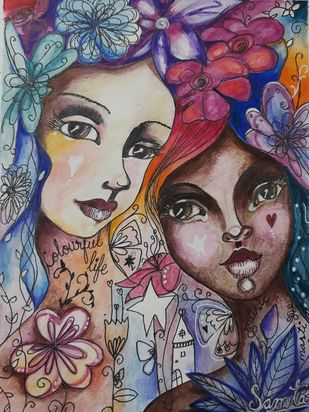 Beauty in every colour by Samta, Pop Art Painting, Mixed Media on Paper, Brown color