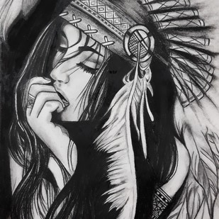 Beauty by Samta, Illustration Painting, Charcoal on Paper, Gray color