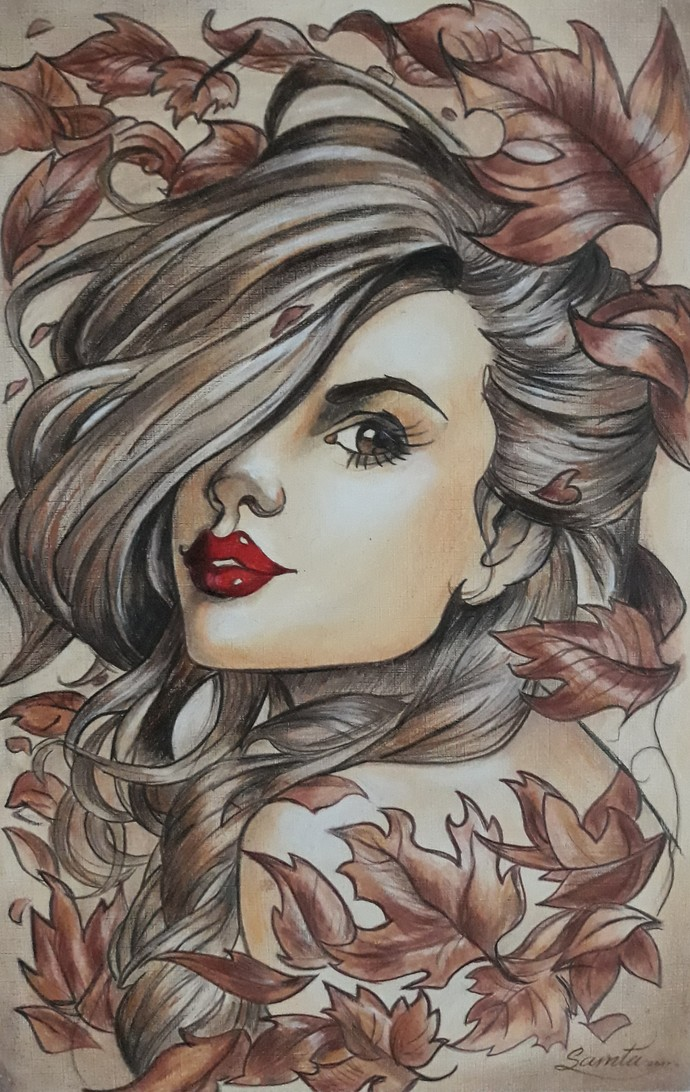 Beauty by Samta, Pop Art Painting, Dry Pastel on Paper, Brown color
