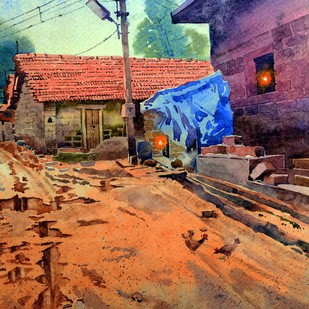 Rainy days by Sohel Sayyad , Impressionism Painting, Watercolor on Paper, Blue color