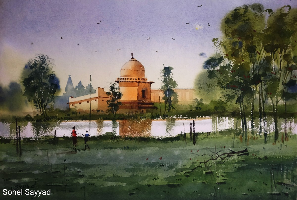 Mandu city of joy by Sohel Sayyad , Impressionism Painting, Watercolor on Paper, Green color