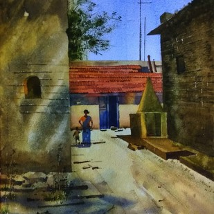 Afternoon at village Digital Print by Sohel Sayyad ,Impressionism