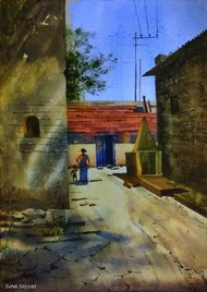Afternoon at village by Sohel Sayyad , Impressionism Painting, Watercolor on Paper, Brown color