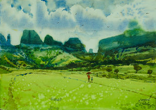 Monsoon by Sohel Sayyad , Impressionism Painting, Watercolor on Paper, Brown color