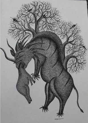 Untitled by Mayank Shyam, Folk Painting, Pen & Ink on Paper, Gray color