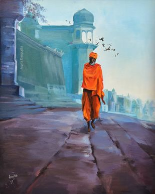 Benaras by Arpita, Expressionism Painting, Acrylic on Canvas, Blue color