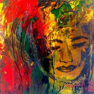 Myself by Geetu Navin Kalani, Abstract Painting, Mixed Media on Canvas, Brown color