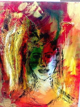 Serenity by Geetu Navin Kalani, Abstract Painting, Mixed Media on Canvas, Brown color