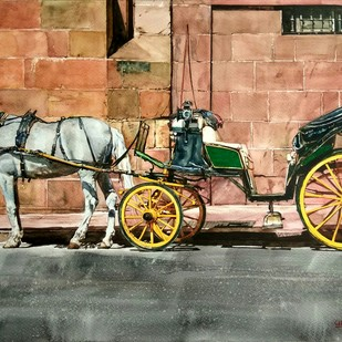 Horse carriage Digital Print by Uday Bhan,Impressionism