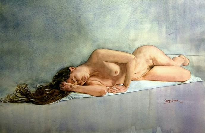 Nude by Uday Bhan, Impressionism Painting, Watercolor on Paper, Beige color