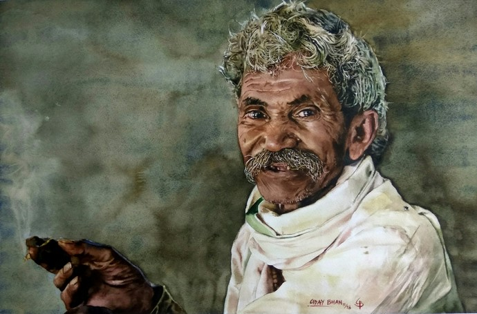 An old man Digital Print by Uday Bhan,Expressionism