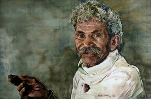 An old man by Uday Bhan, Expressionism Painting, Watercolor on Paper, Green color