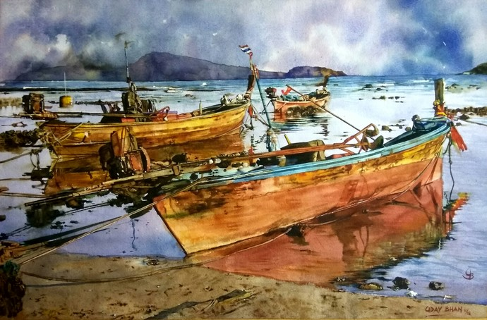 Boats by Uday Bhan, Impressionism Painting, Watercolor on Paper, Brown color