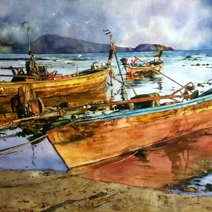 Boats Digital Print by Uday Bhan,Impressionism