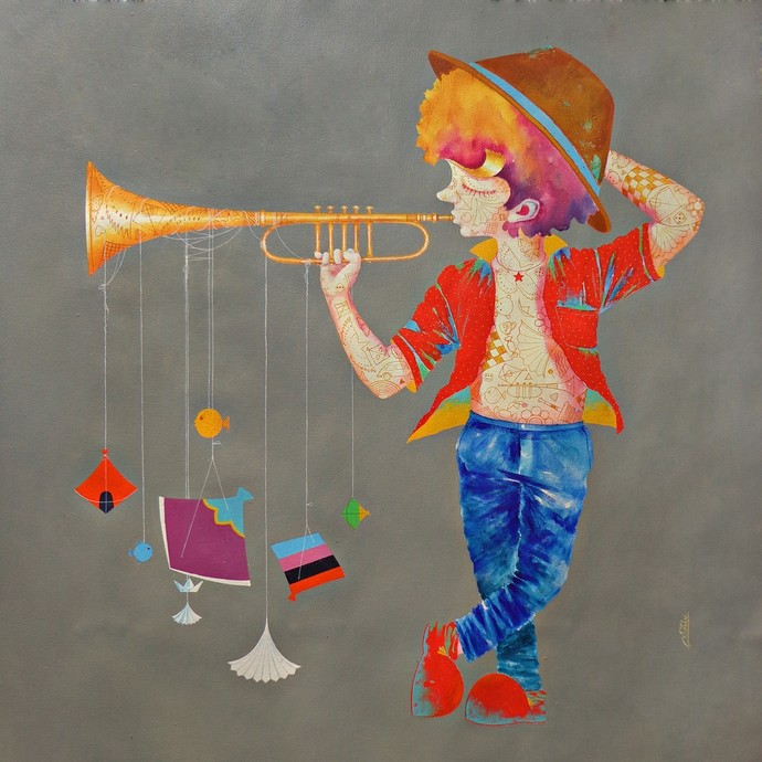 Memories of the childhood xvi by shiv kumar soni, Expressionism Painting, Acrylic on Canvas, Brown color