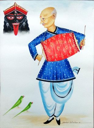 Gandhiji at Kalighat by Bhaskar Chitrakar, Folk Painting, Natural colours on paper, Cyan color