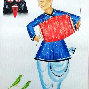 Gandhiji at Kalighat by Bhaskar Chitrakar, Folk Painting, Natural colours on paper, Cyan color