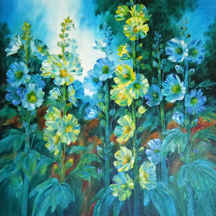 Hollyhocks - 7 by Swati Kale, Expressionism Painting, Oil on Canvas, Green color