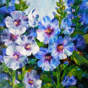 Hollyhocks - 1 by Swati Kale, Expressionism Painting, Oil on Canvas, Green color