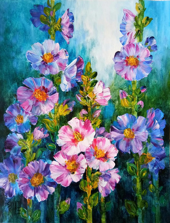 Hollyhocks - 2 by Swati Kale, Expressionism Painting, Oil on Canvas, Green color