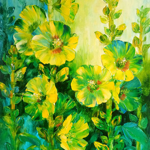 Hollyhocks - 4 by Swati Kale, Impressionism Painting, Oil on Canvas, Green color