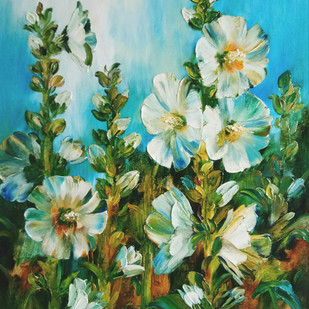 Hollyhocks - 5 by Swati Kale, Impressionism Painting, Oil on Canvas, Green color