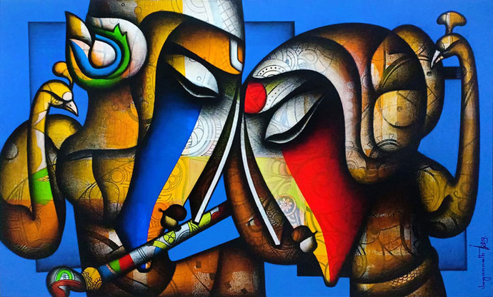 """Bond of Love, Relationship, Charcoal, Acrylic, Red, Blue, Green, Brown By Indian Artist """"In Stock"""" by Jagannath Paul, Expressionism Painting, Charcoal on Canvas, Blue color"""